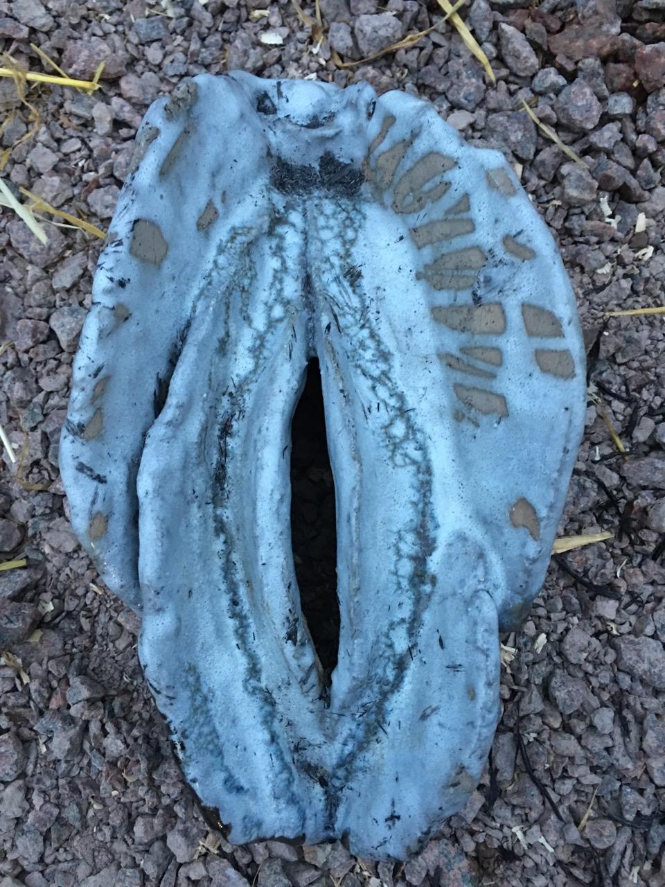 """Warm Winter Godess"",Raku Vagina. lokal clay. hight 24cm, width 17cm, depth 12cm. weight 1 600g.  available in the web shop"