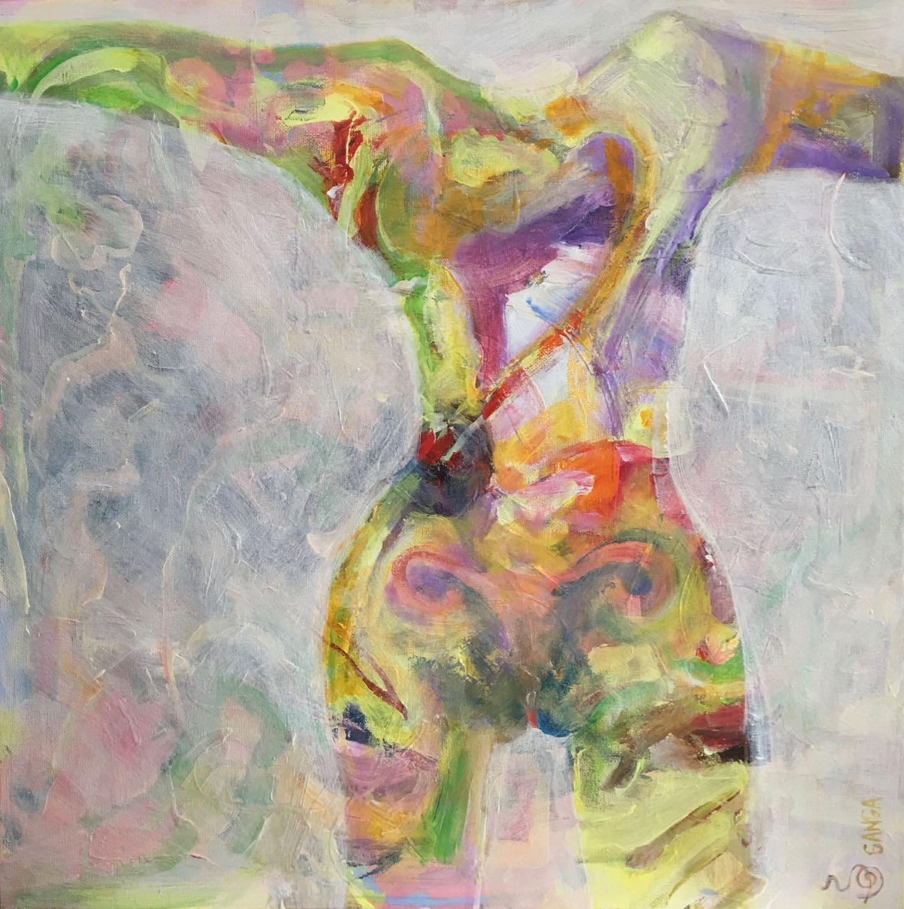 INWARD TORSO/HOPE. 50x50cm acrylic on canvas