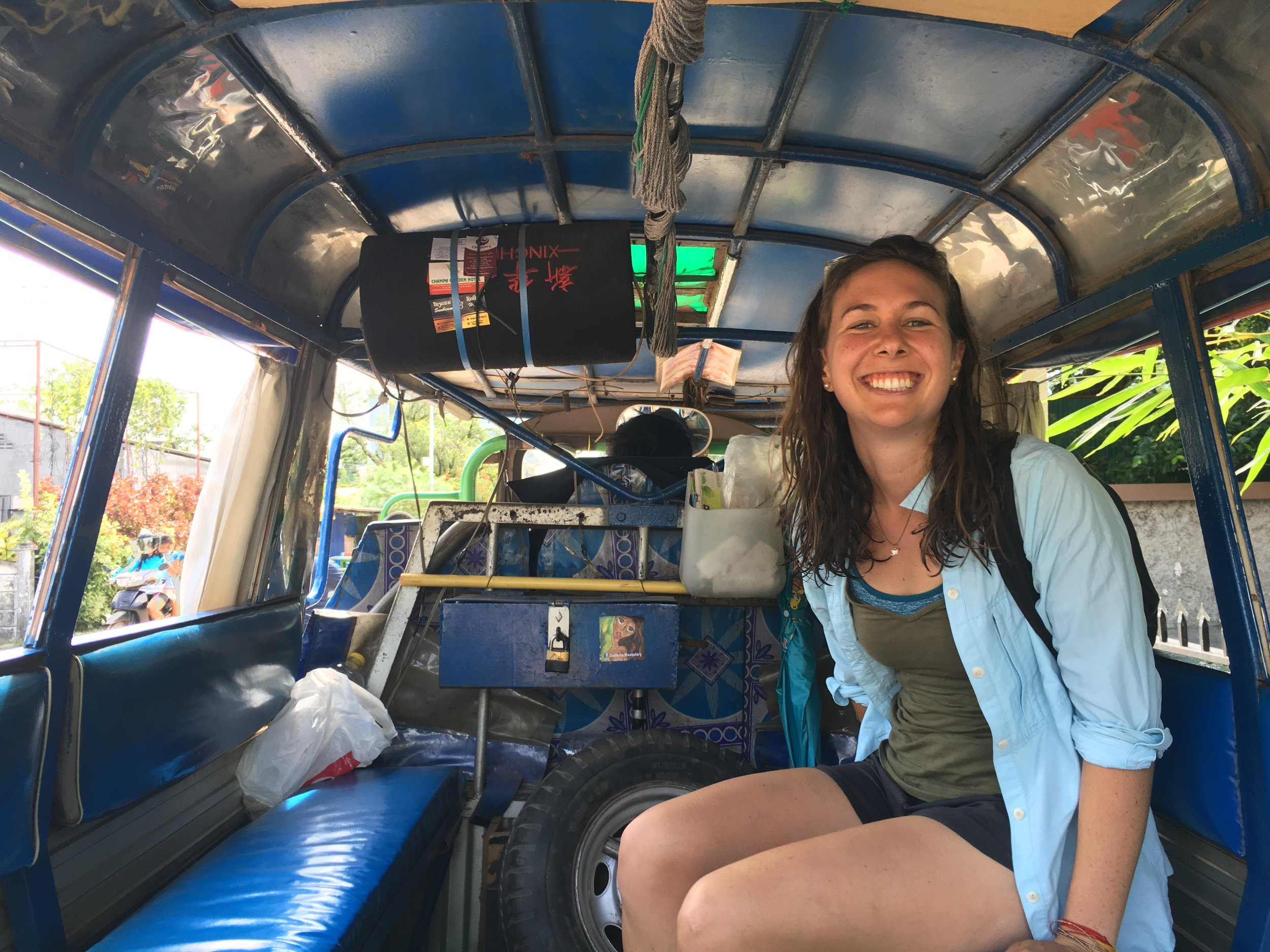 Amy in the back of the Tuk Tuk.