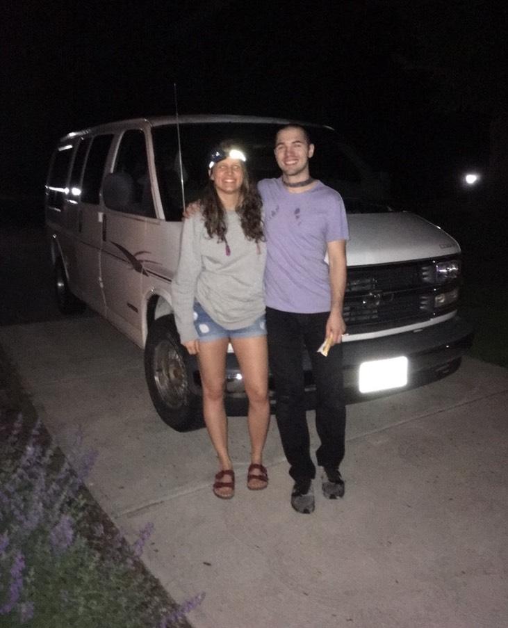 Becca and Luke outside of Luke's van, Rusty.