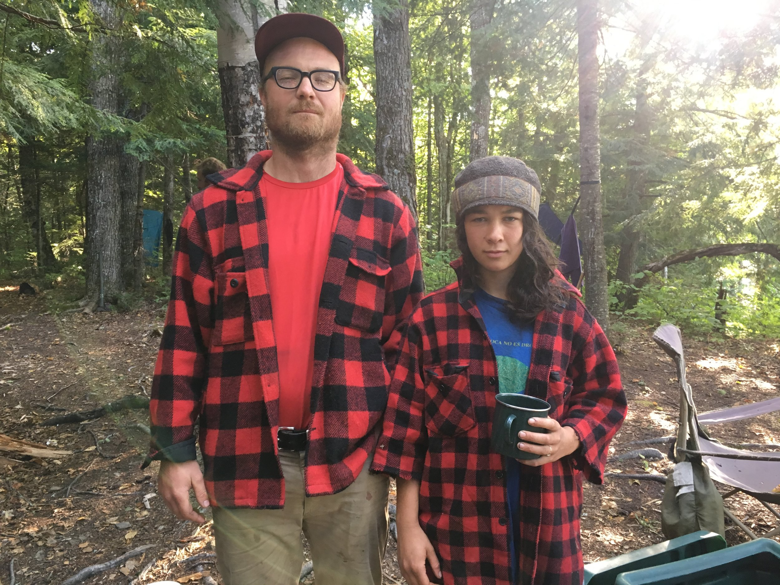 Colin and student Molly in matching buffalo plaid.