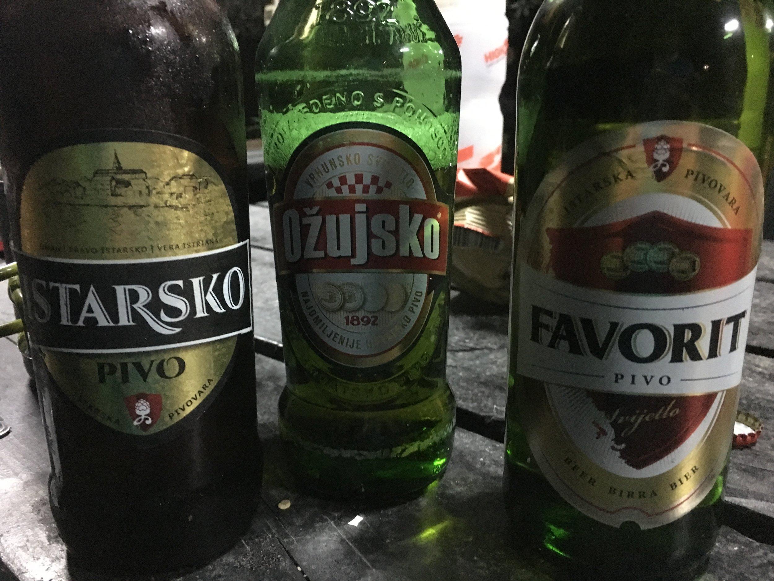 A trio of Croatian beers. My favorite was Ozujsko.