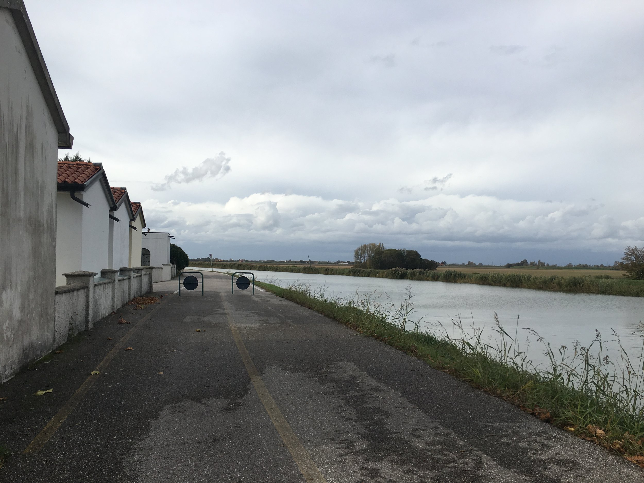 We cycled down this bike path next to the canal for much of the day.