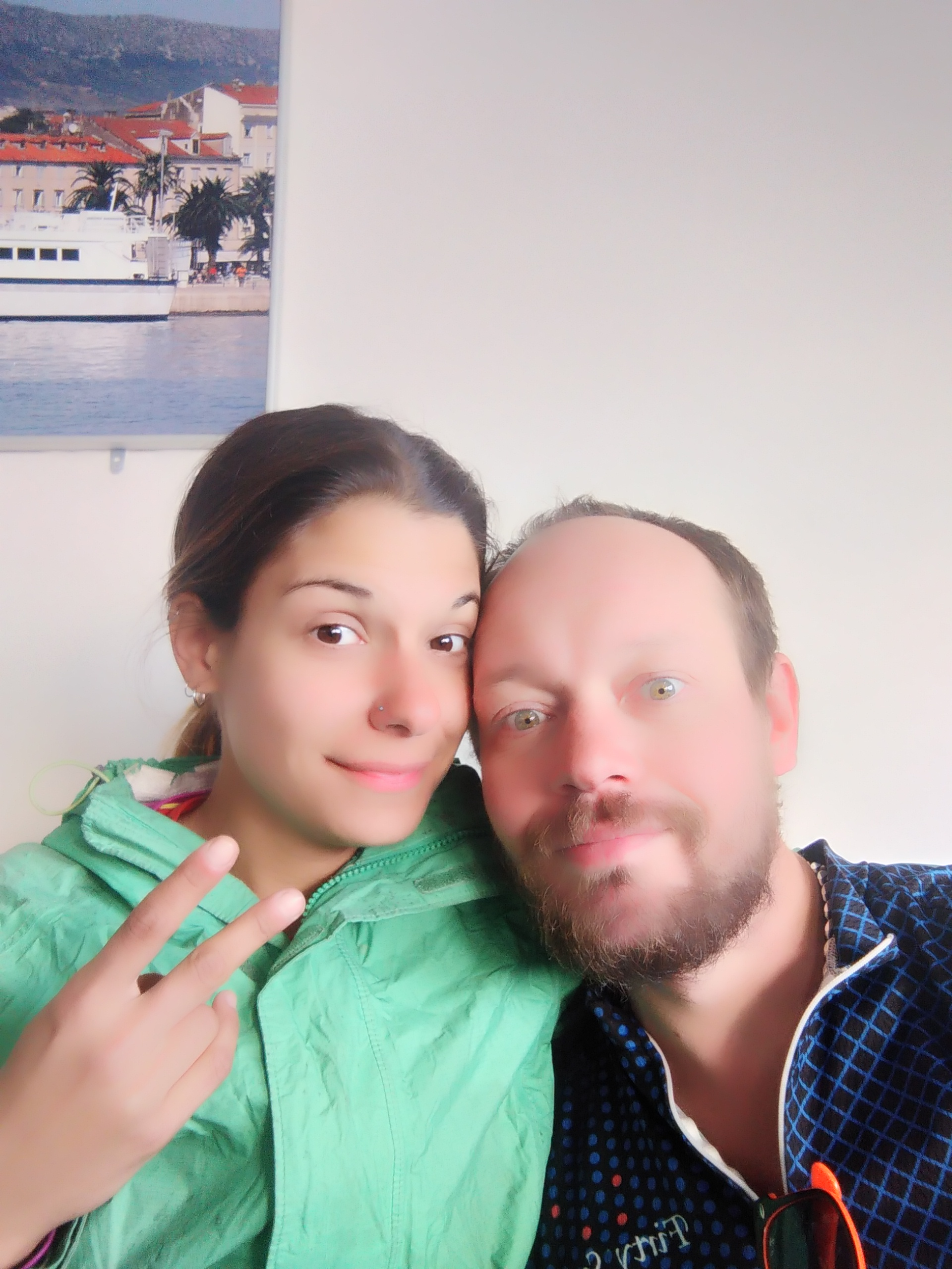 """Craig bought his phone in Asia. This is a ferry selfie in the """"beauty setting."""""""