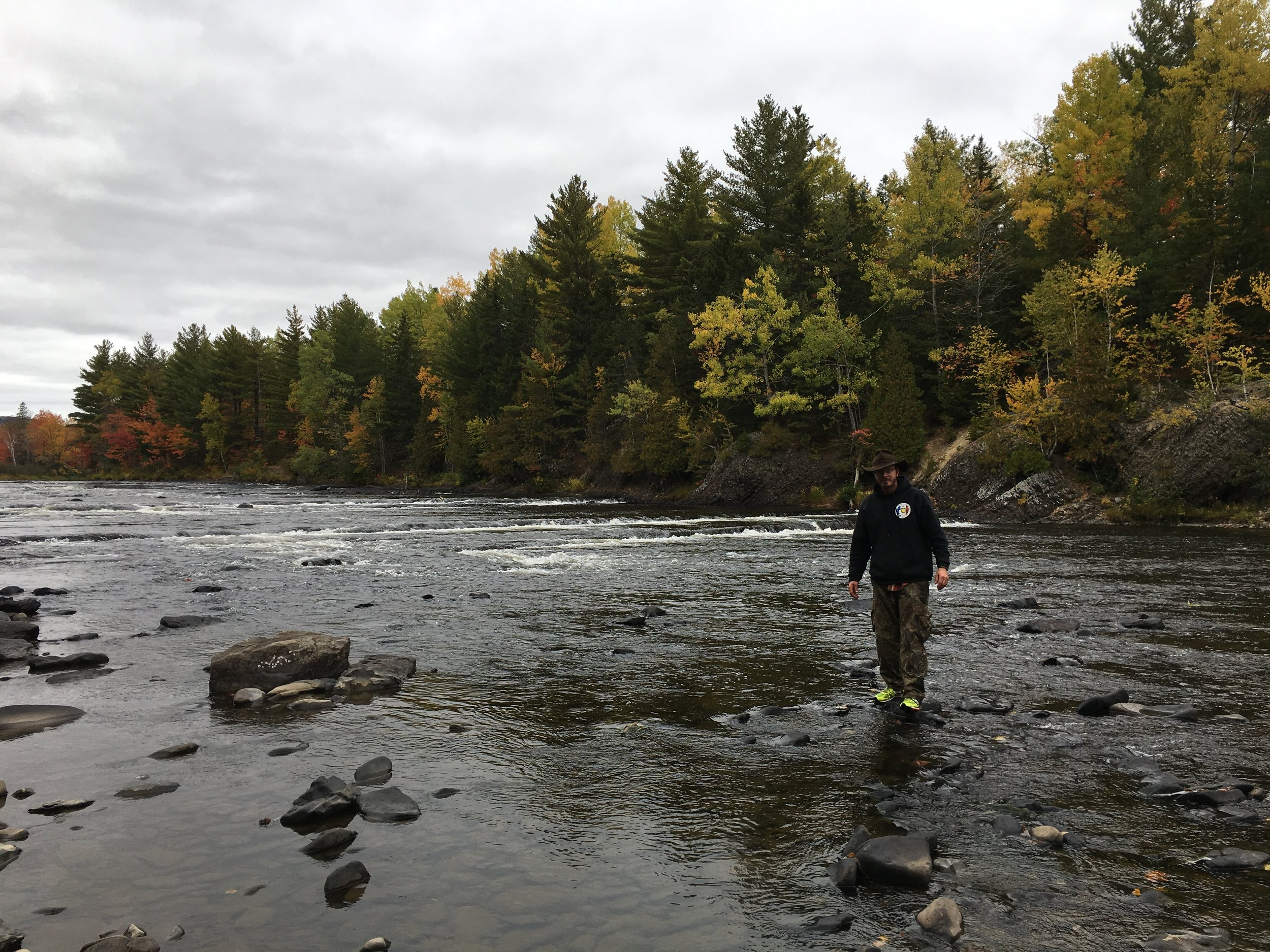 Craig walks through the river in Baxter State Park.