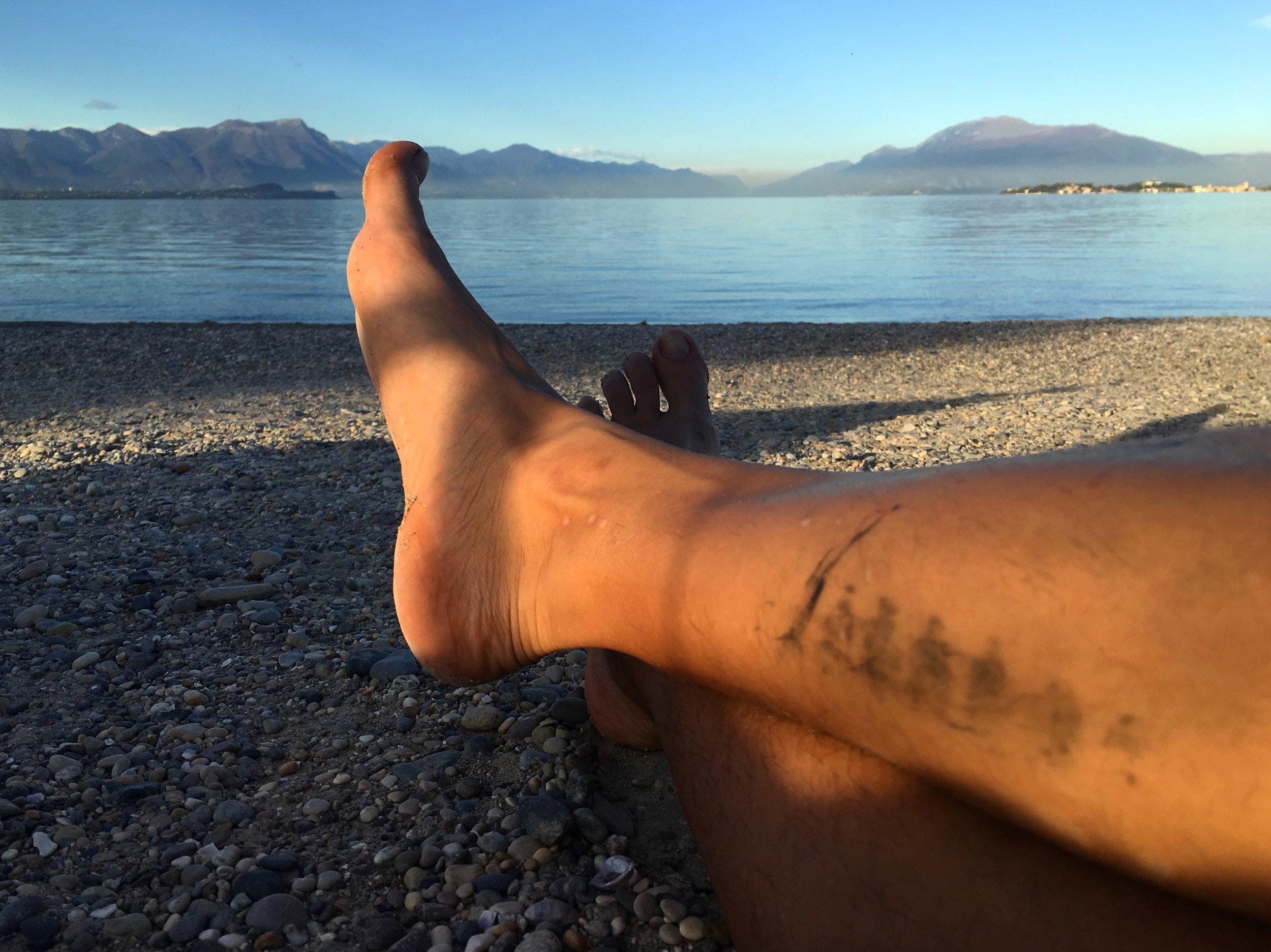 Lake Garda is beautiful and cold.