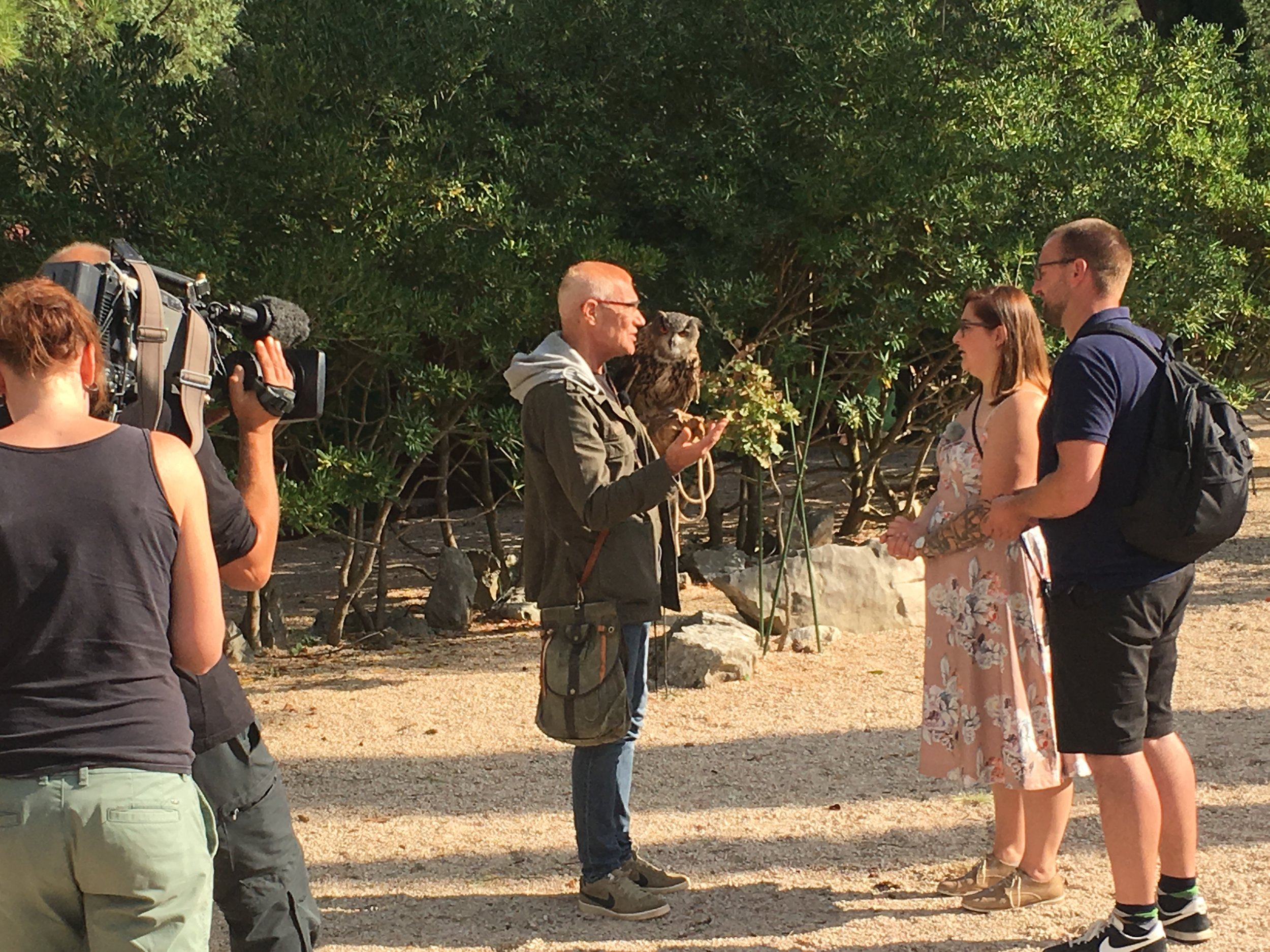 A German film crew was filming a TV show at the Falconry Center.