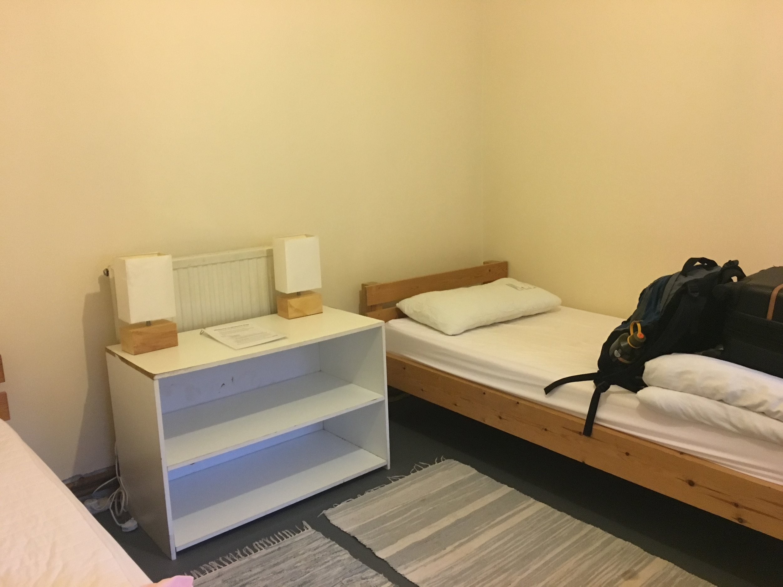 My non-luxurious bed was actually quite comfortable.