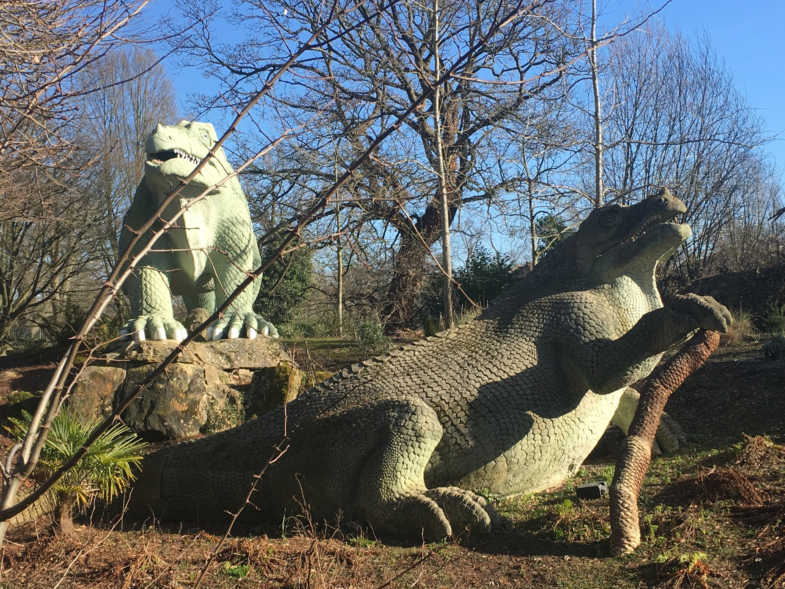 Two of the dinosaurs at Crystal Palace Park.
