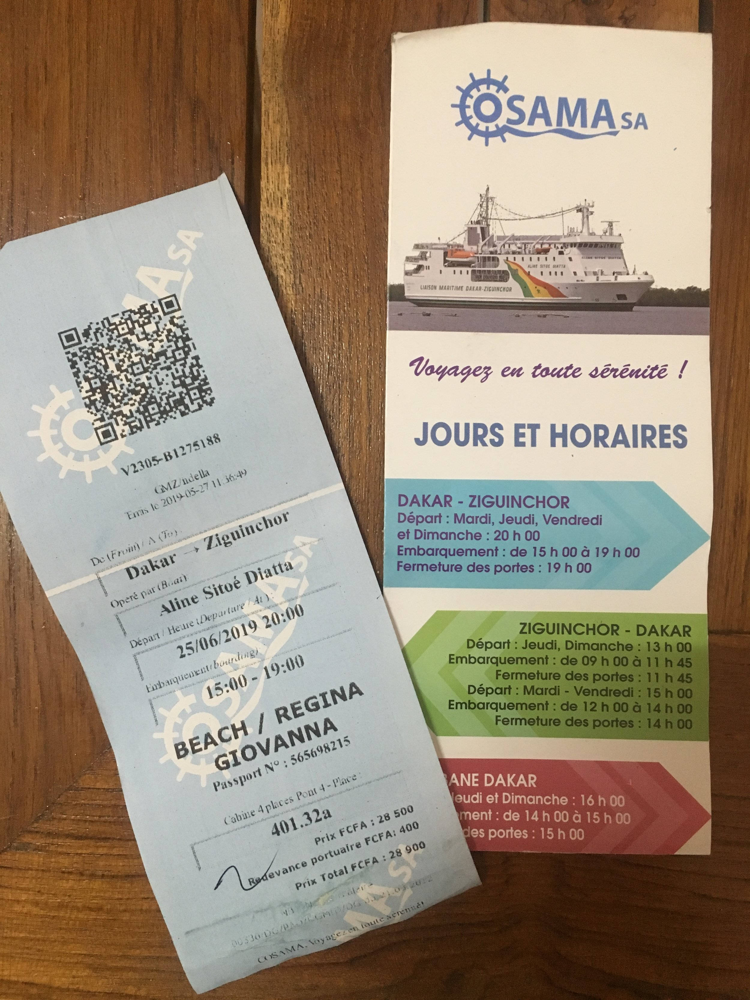 The tickets for the Dakar to Ziguinchor ferry.
