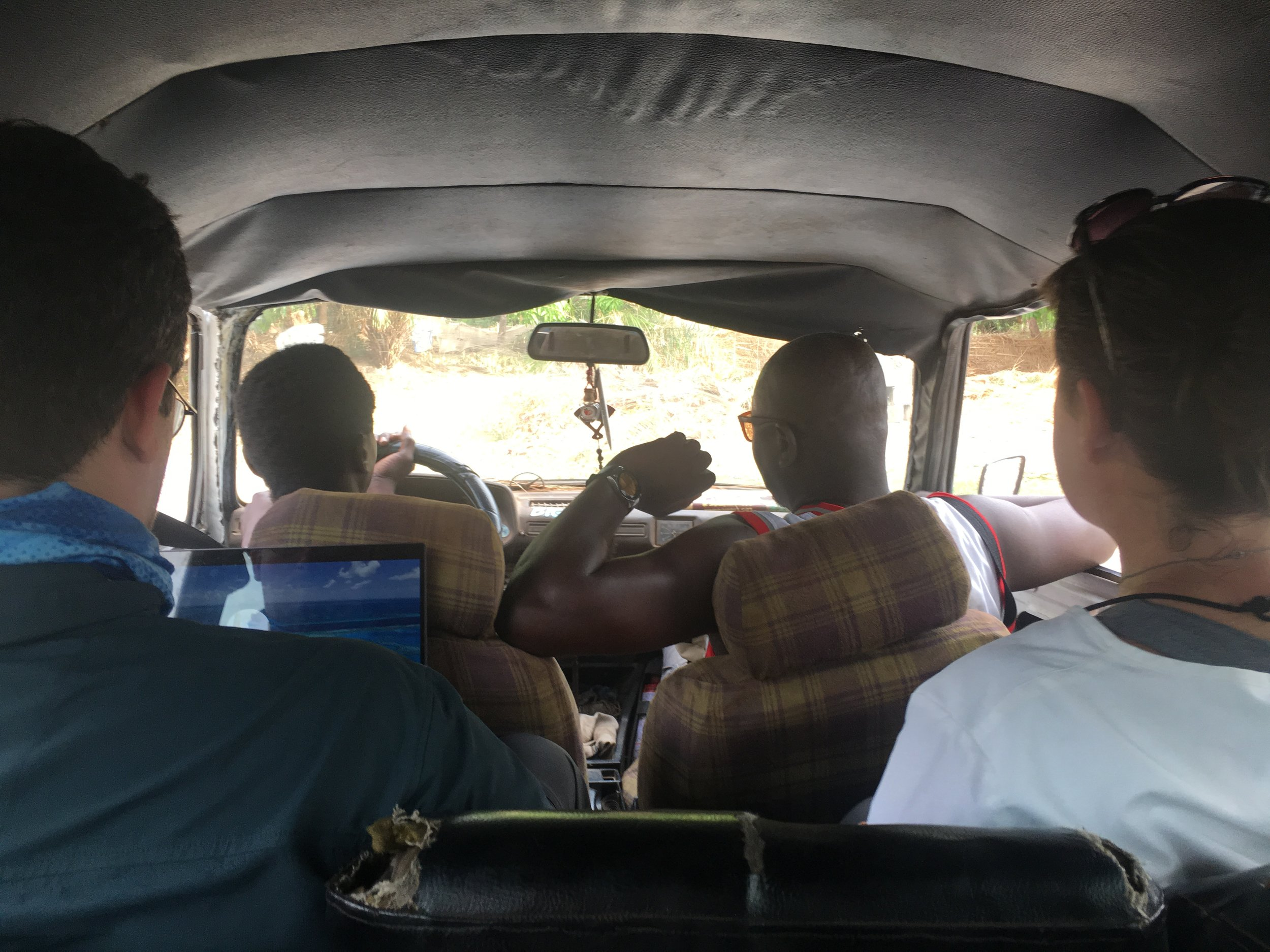 The inside of the bush taxi.
