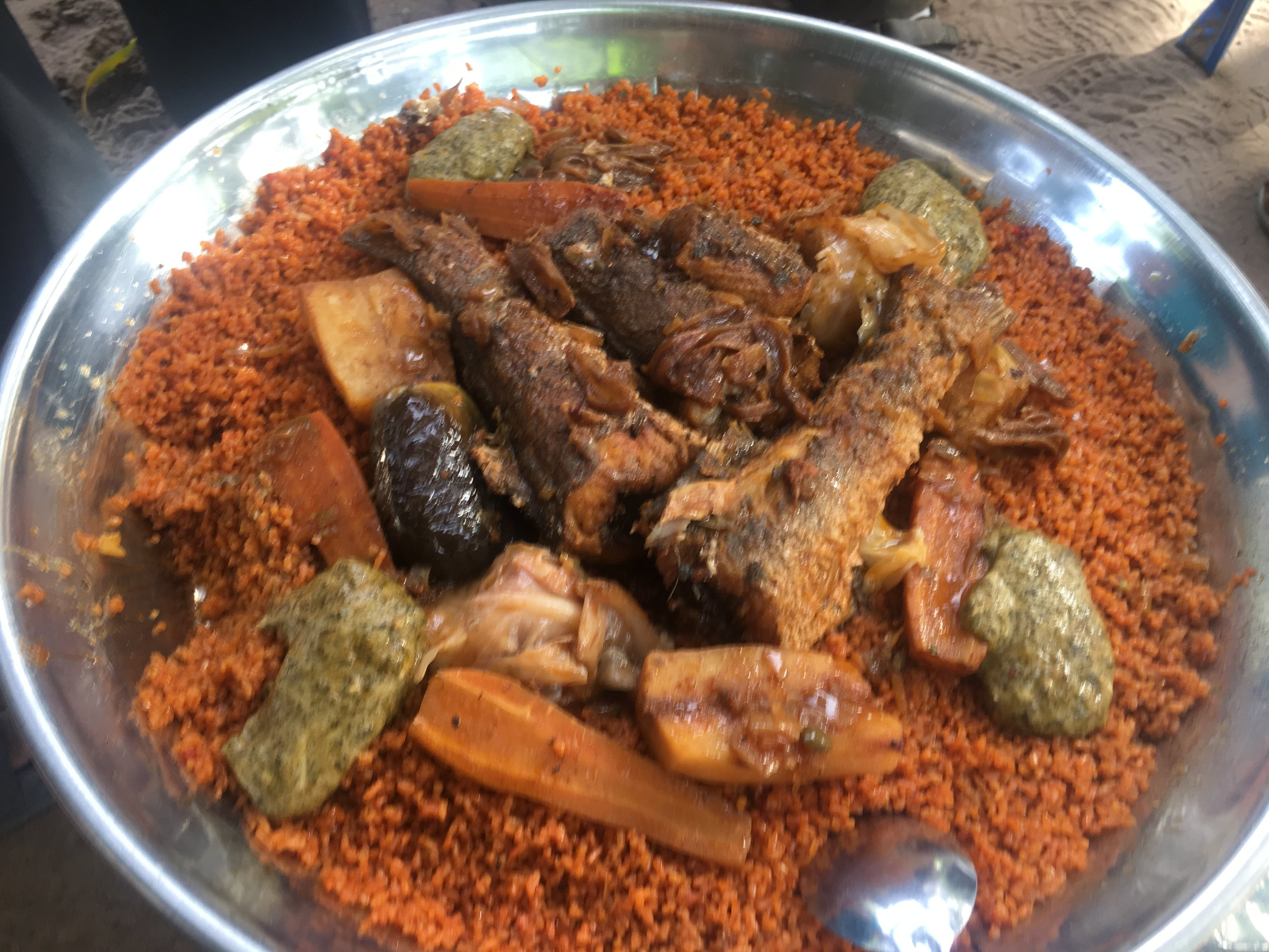 Thieboudienne is the national dish of Senegal.