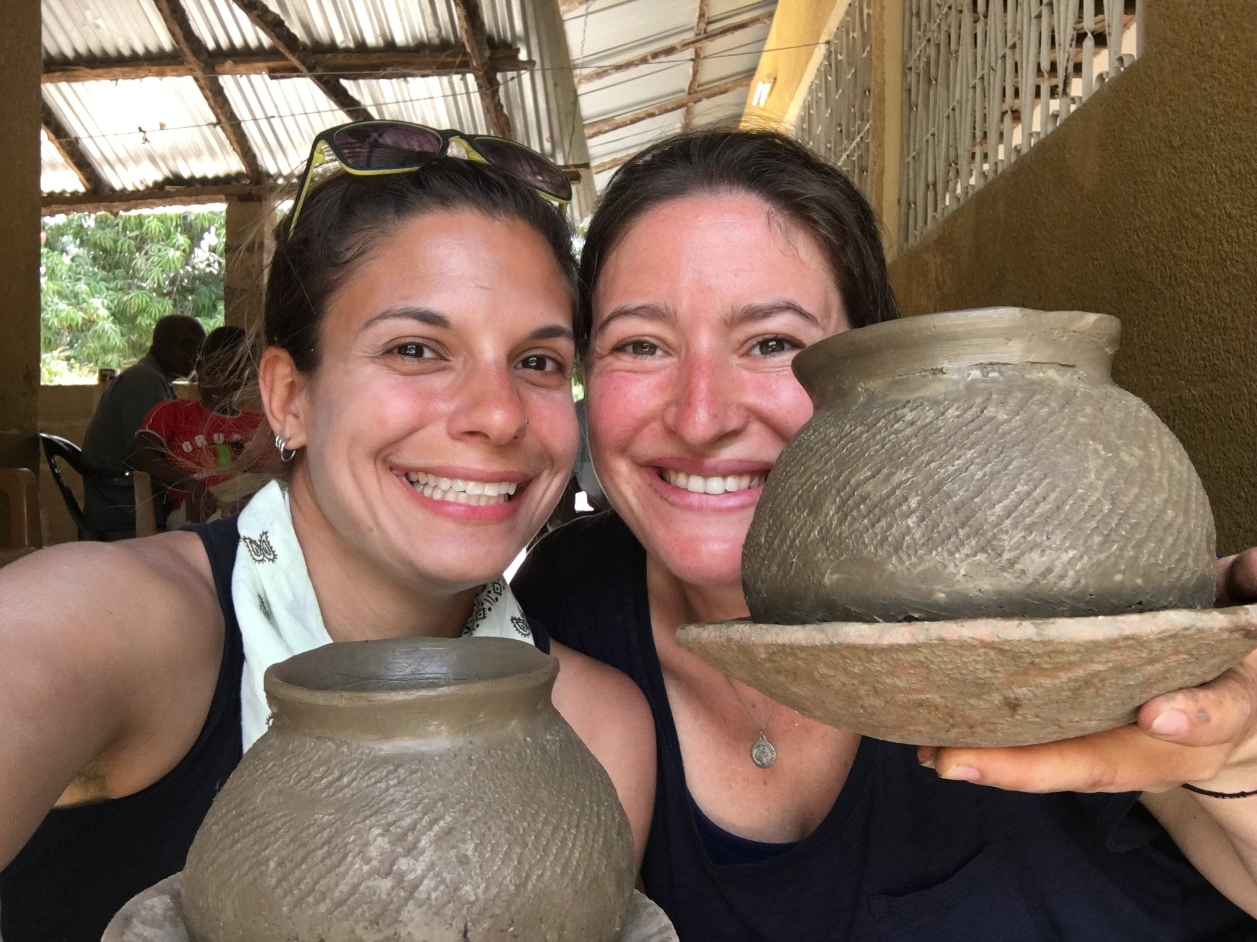 Megan and I with our pots before they're fired.