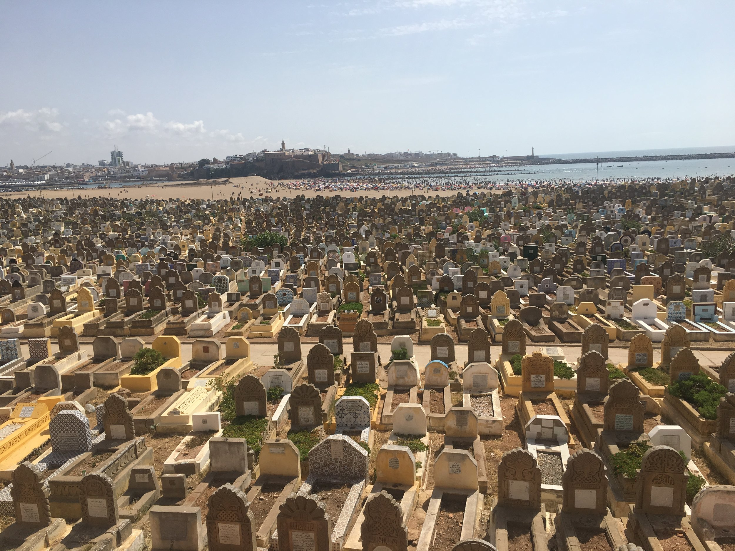 The Salé graveyard overlooks the ocean and the Oued Bou Regreg river.