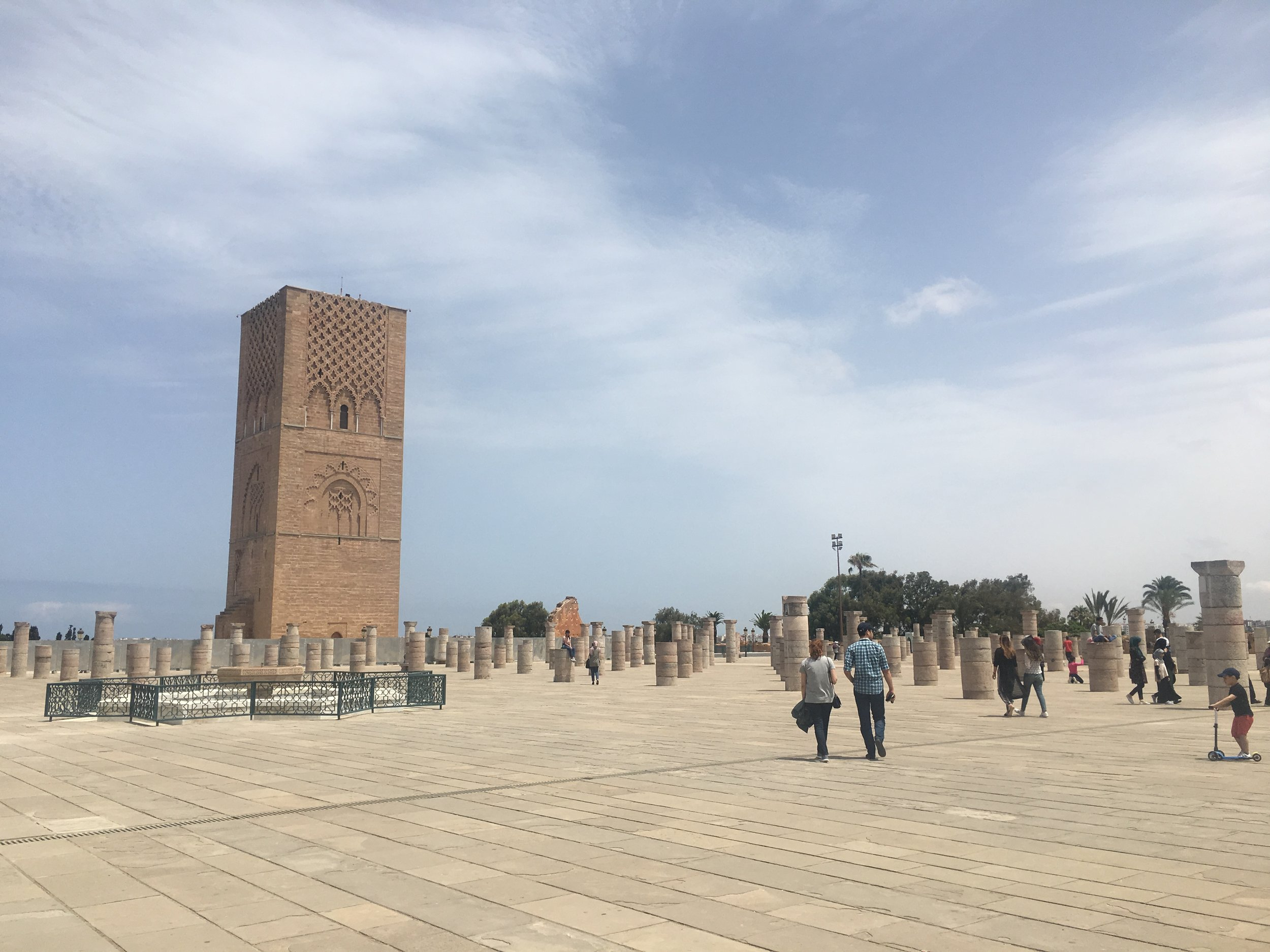 The Hassan Tower is a 12th-century minaret that was never finished.