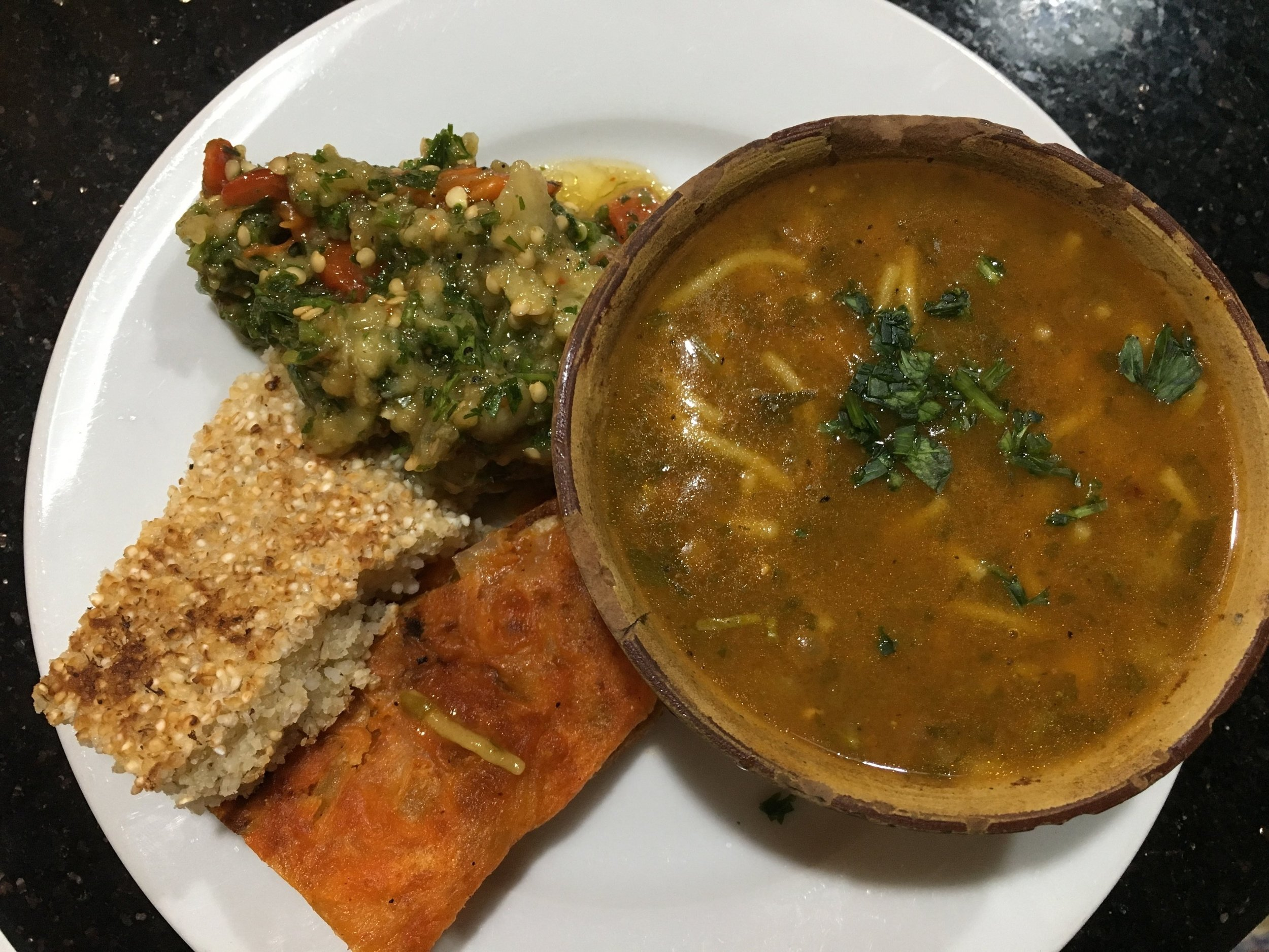 Zalouk egg plant salad is served with mahrash and spicy bread and harira soup.