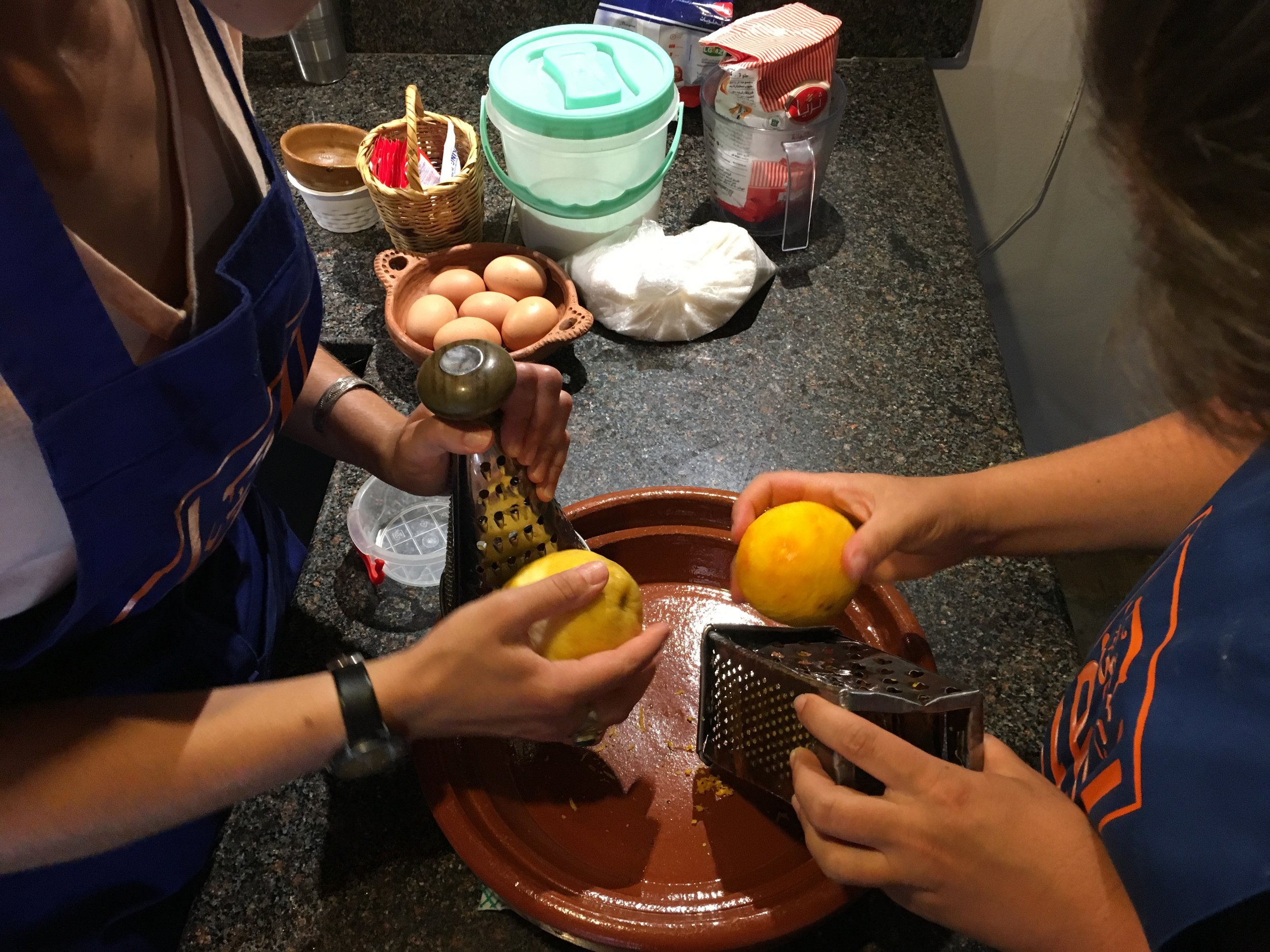The citrus macroons used the zest and juice of two huge lemons and an orange, 4 eggs, powdered sugar, flour, coconut, oil, and orange water.