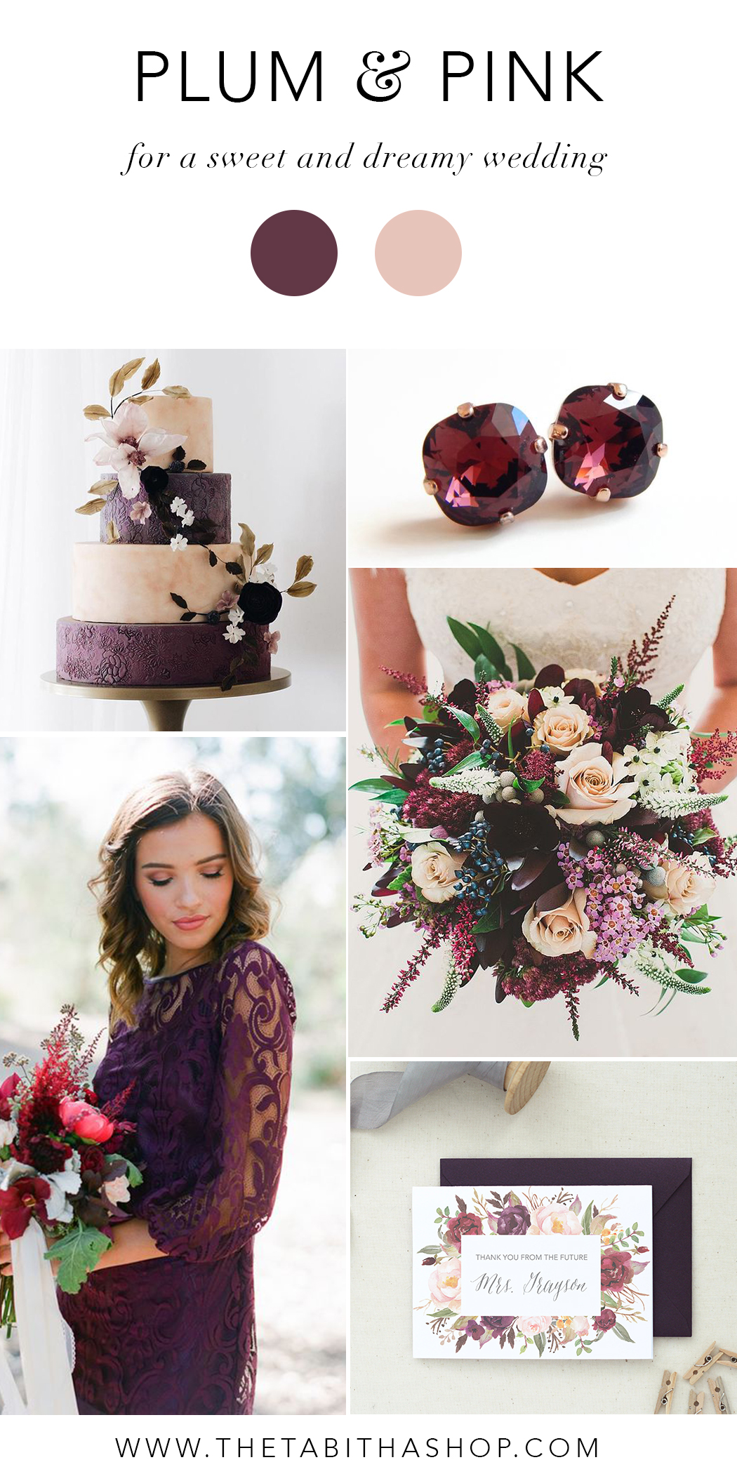 Clockwise, starting top left: Cake via Pinterest // Earrings by  Love Your Bling  // Photo by Mike & Emma Bowering via  Brides Up North  //  Personalized Future Mrs Card by The Tabitha Shop  // Florals by  Anna Le Pen Taylor