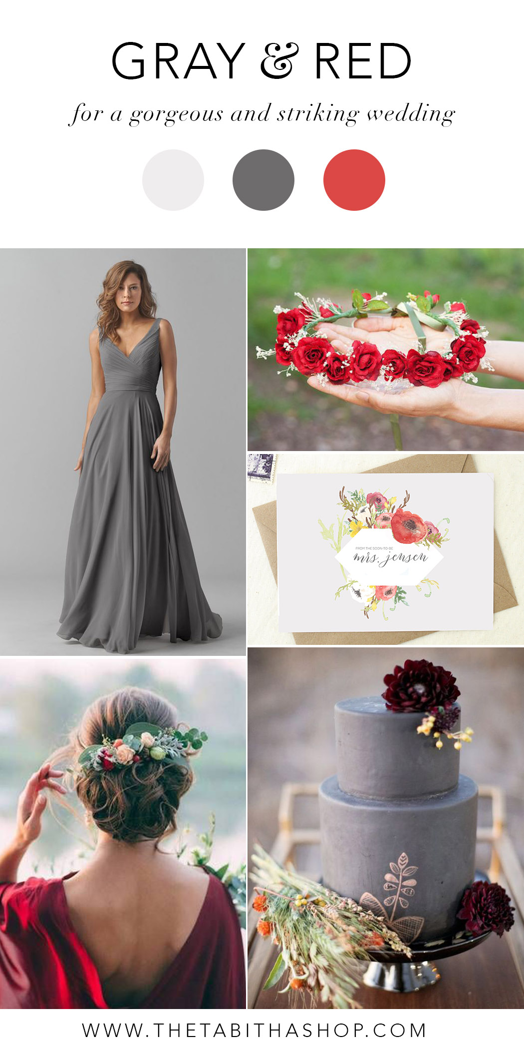 Clockwise, starting top left:  Bridesmaid Dress by Watters  // Crown by  Ritaflowersbcn  //  Future Mrs Card  by  The Tabitha Shop  // gray cake via  Deer Pearl Flowers  // Photo by Green Wedding Shoes via  Domino