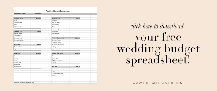 budget spreadsheet for wedding
