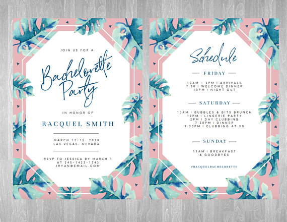 Invite by Style Palette    This tropical style  invite would be a perfect way to ask your girls to celebrate with you on the beach!