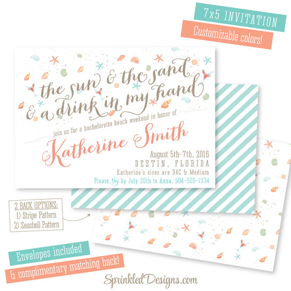 Invite by Sprinkled Design    Yes please! It's February and this  invite is making me just want to lay on a beach with a drink in my hand. If you're hitting up the beach for the weekend, this sweet invite is perfect!