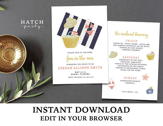 Invite by Hatch Party    Such a cute  invite ! And, it comes with an itinerary on the back, so major bonus points.