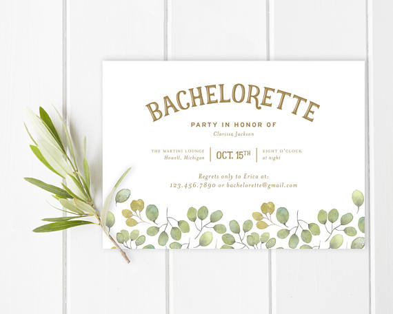 Invite by Blonde and Brindle LLC    I love the gorgeous simplicity to this  invite . If you're having a wine tasting weekend or a simple getaway for your bachelorette, this invitation would be perfect.