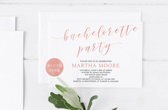 Invite by Wishful Paperie    Faux rose gold forever! This  invite would help kick off a classy weekend with the girls.