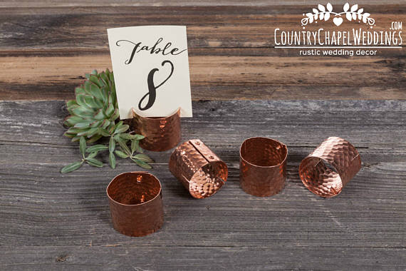 copper table number holders