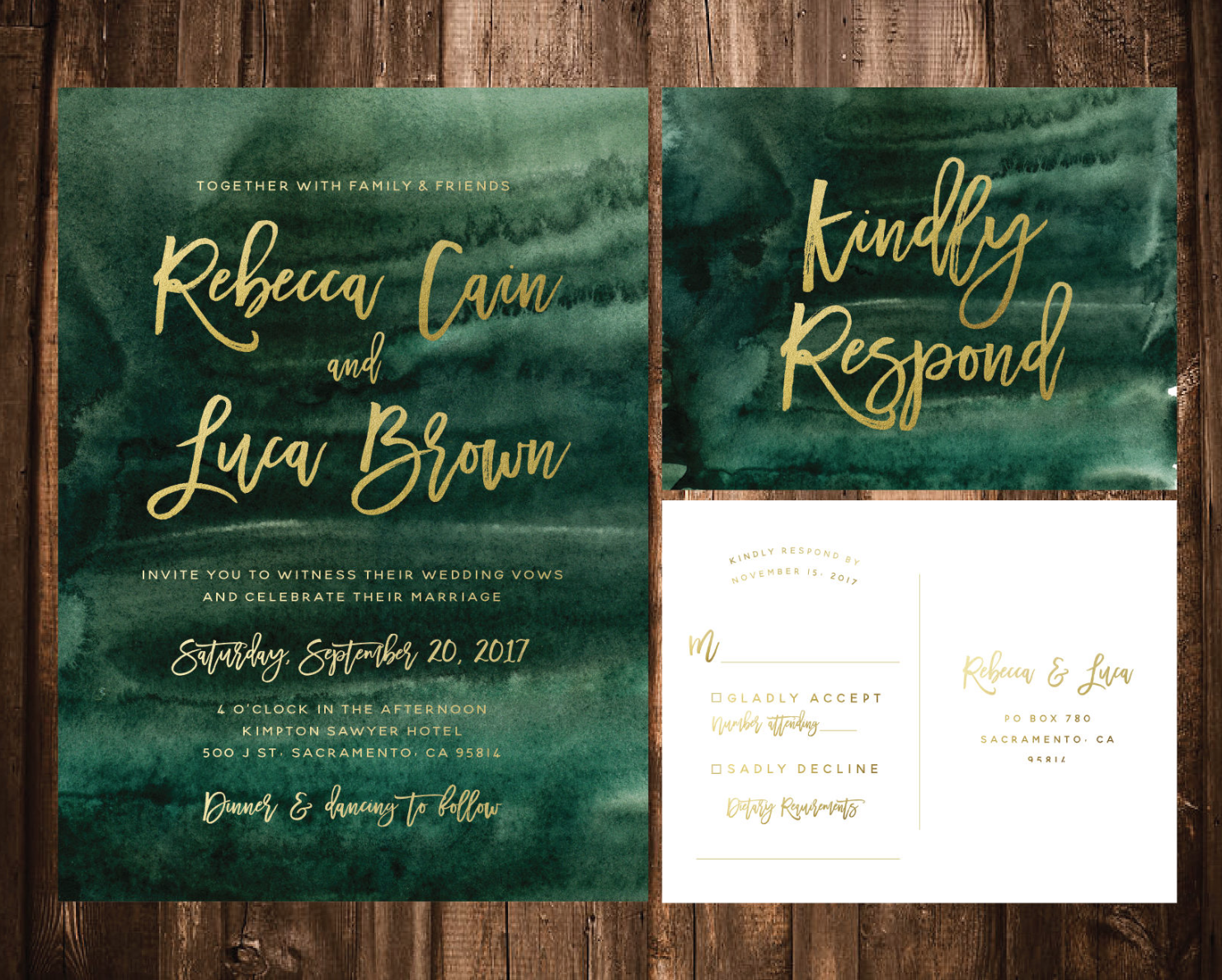 emerald gold wedding invite