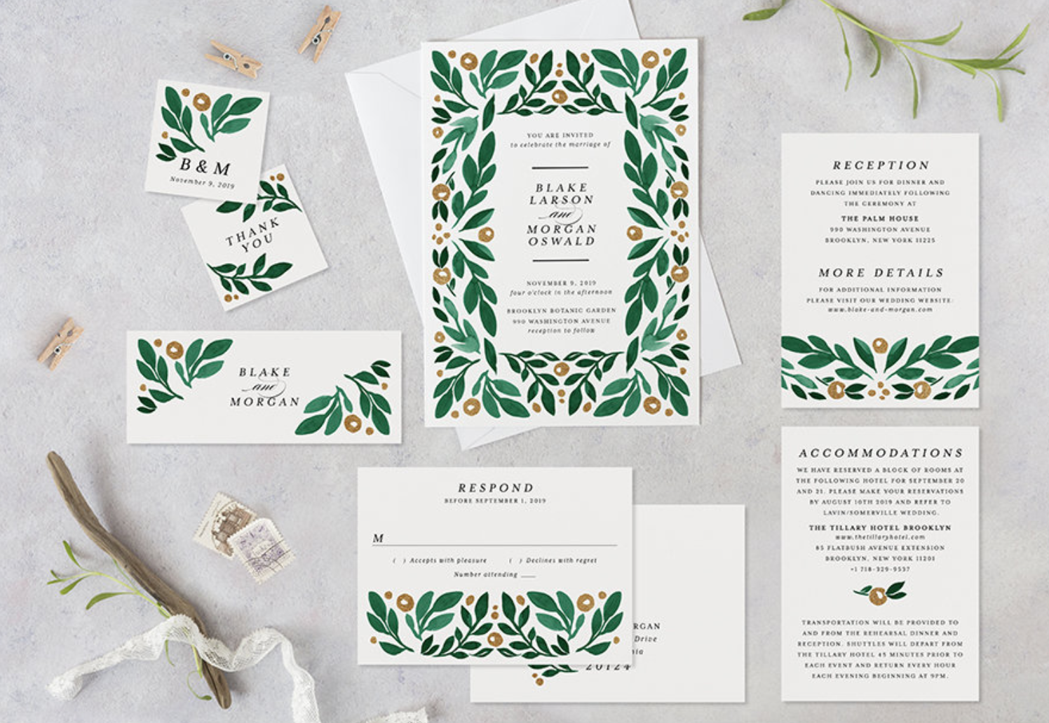 green spring wedding invitation