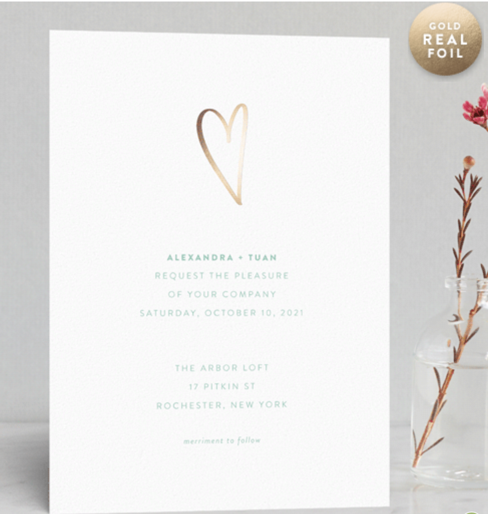 simple gold wedding invitation