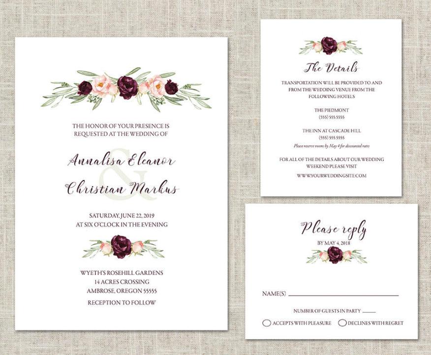 blush and wine wedding invitation