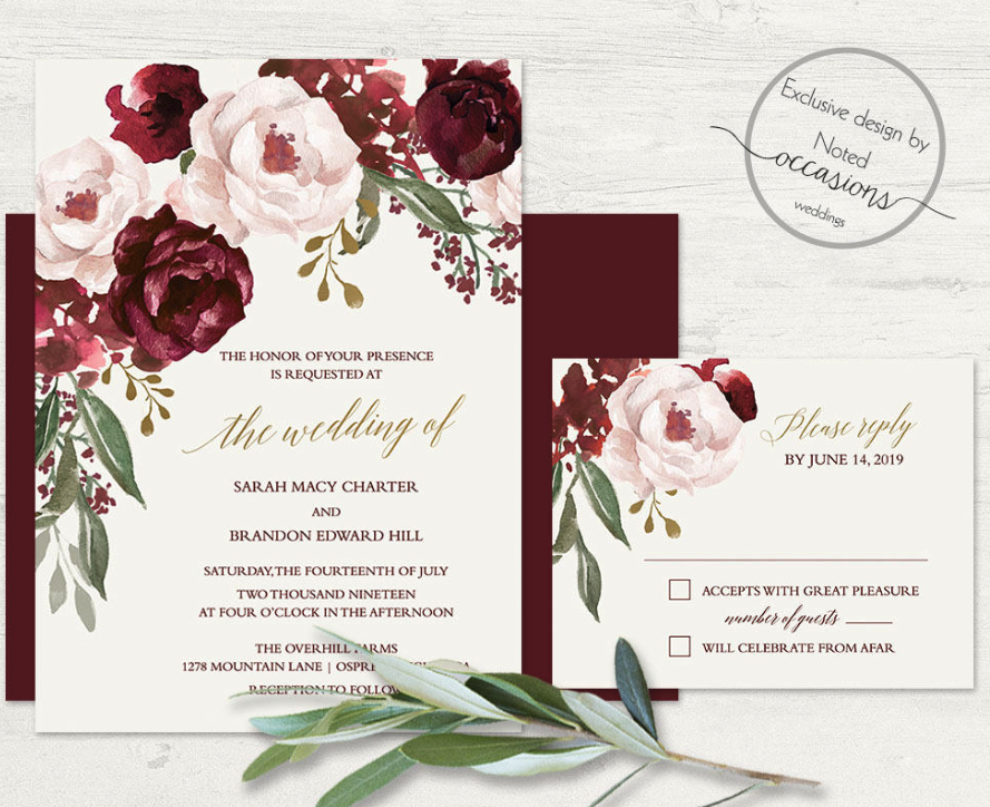 floral wedding wine invite