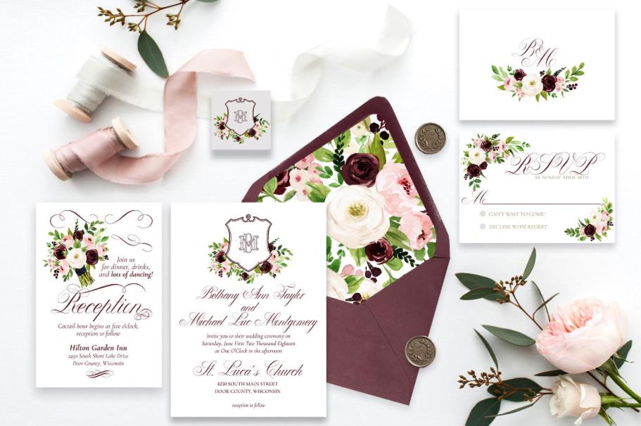 romantic marsala wedding invite