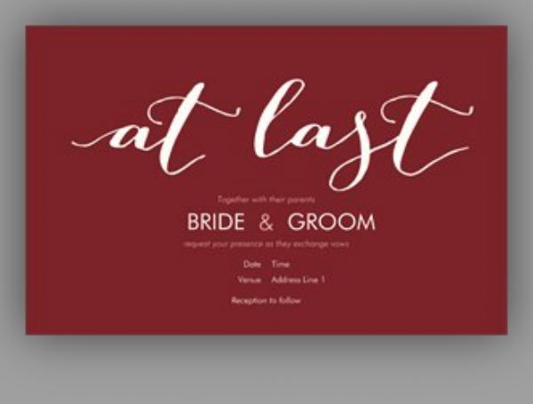 simple marsala wedding invite