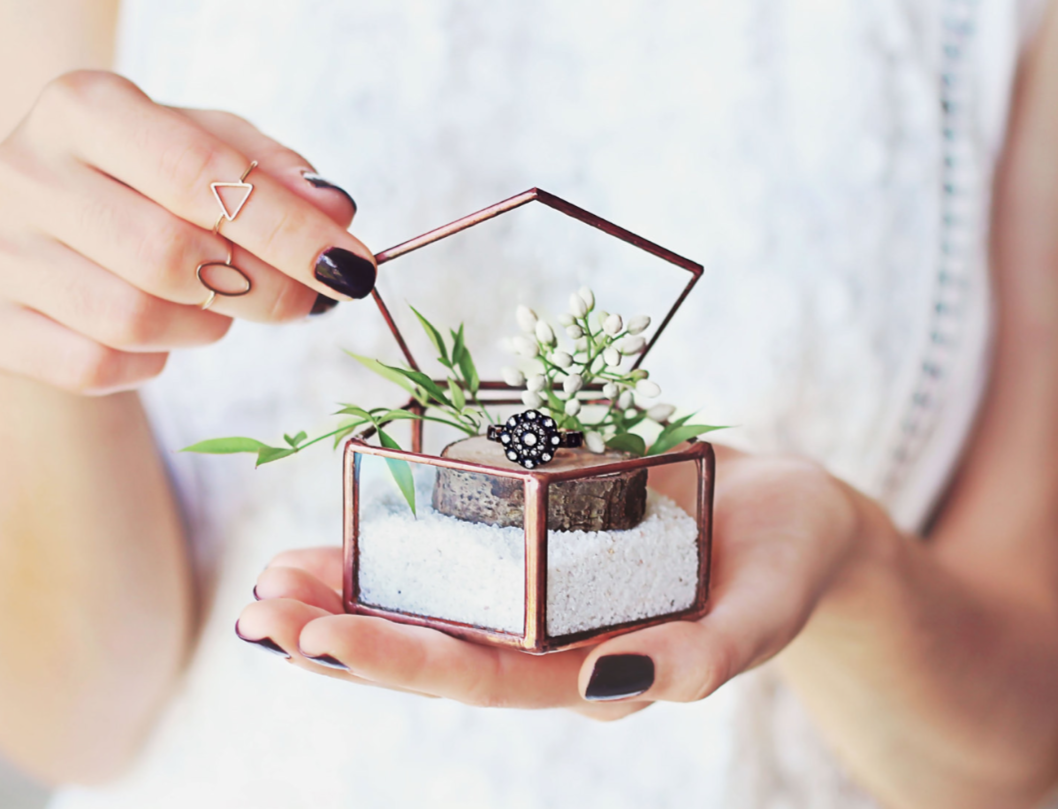 glass ring box for wedding