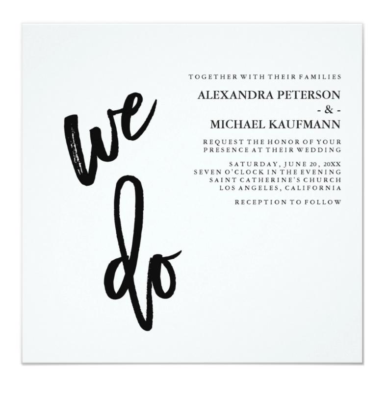 simple white wedding invitation
