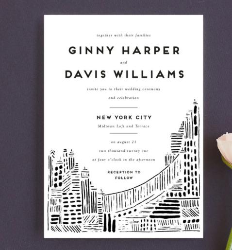 modern city scape wedding invitation