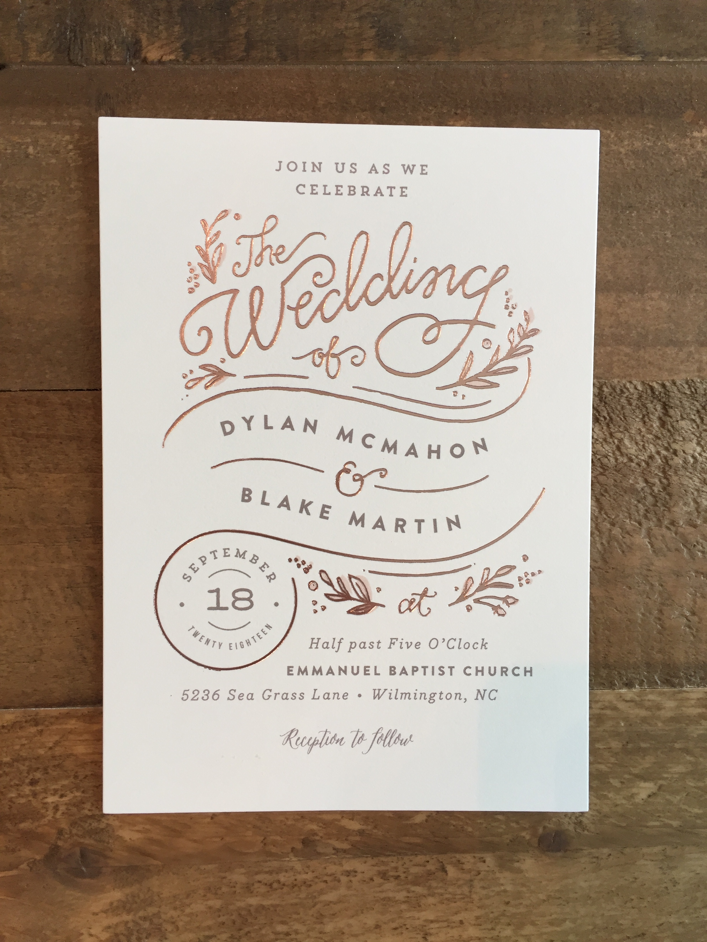 rolling names wedding invitation