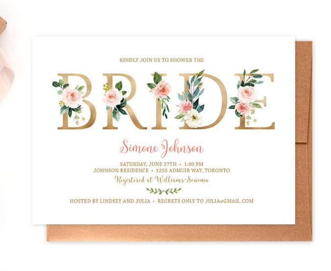 floral shower invitation printable