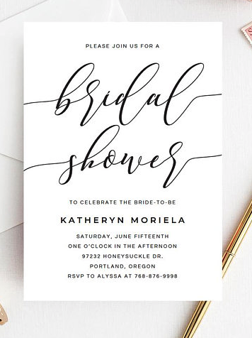 minimal black and white shower invitation