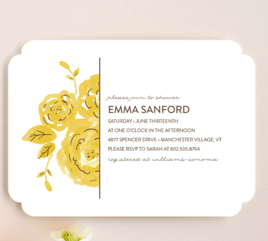 floral simple shower invites
