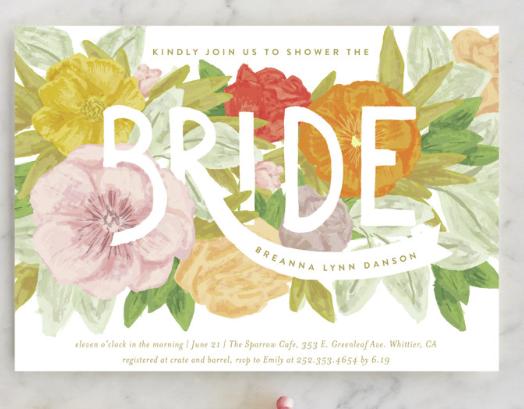 botanical floral invites bridal shower