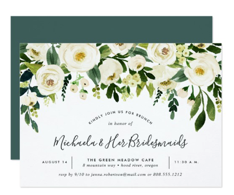 green and white floral bridal shower invitation