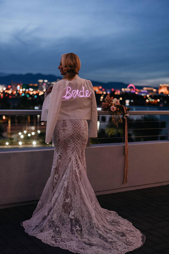 neon leather bridal jacket