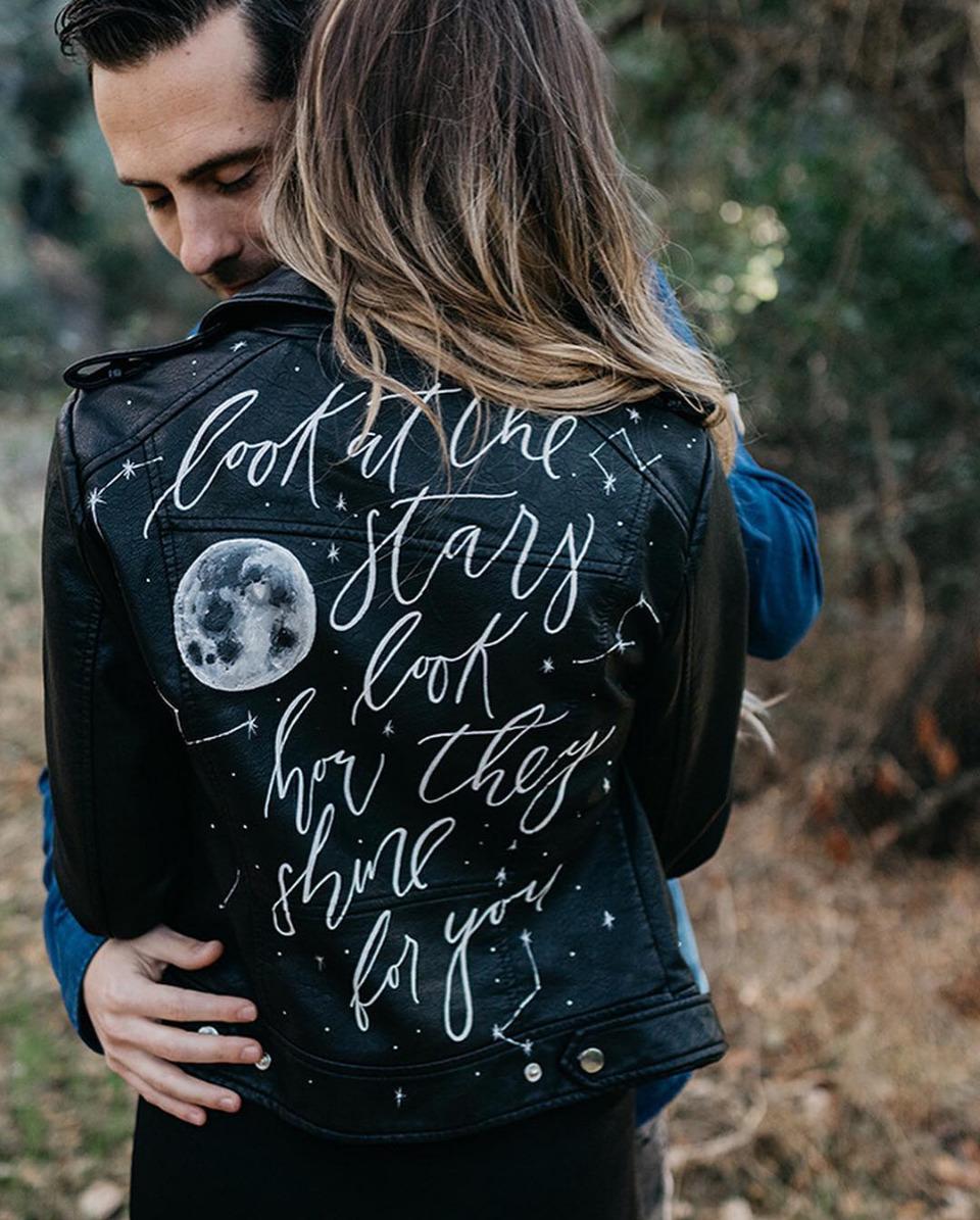 calligraphy leather jacket
