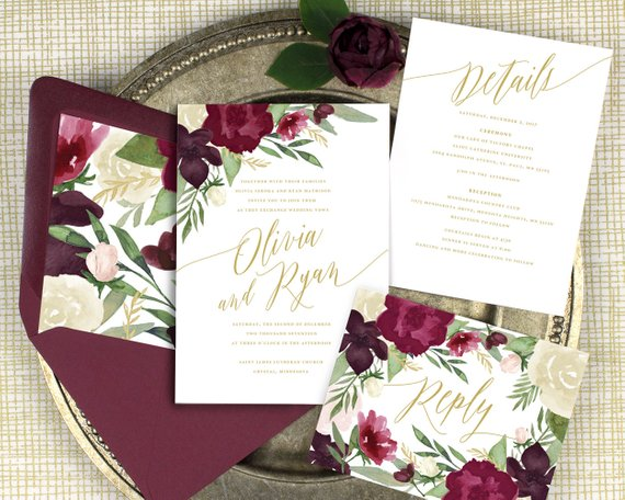 fall wedding invitation