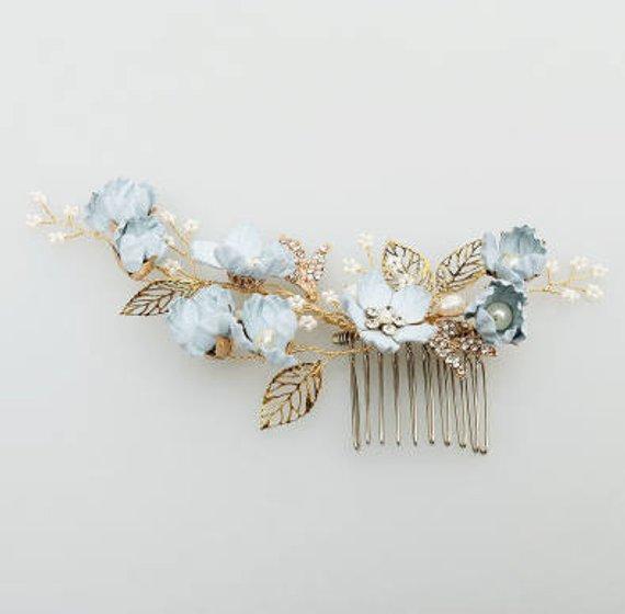 Wedding Blue Hair Comb